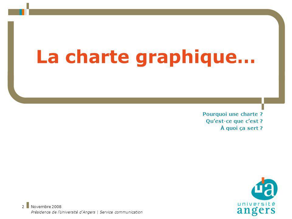 Novembre 2008 Présidence de l'Université d'Angers | Service communication 2 La charte graphique… Pourquoi une charte ? Quest-ce que cest ? À quoi ça s