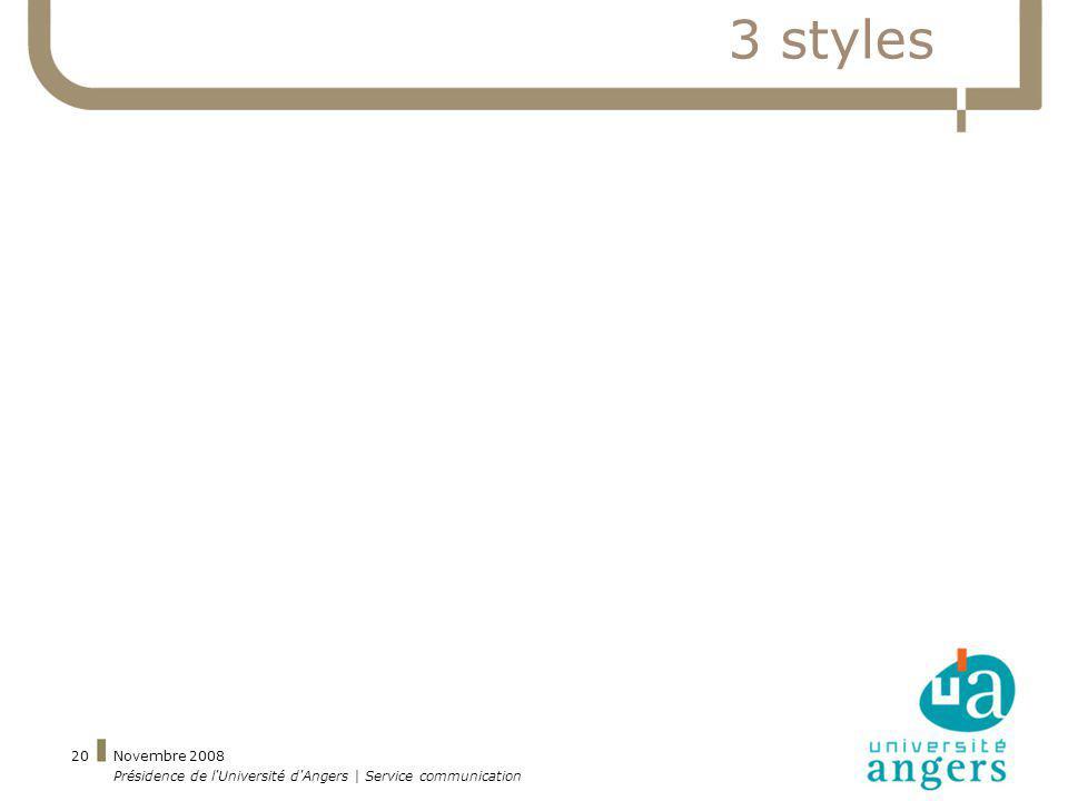 Novembre 2008 Présidence de l'Université d'Angers | Service communication 20 3 styles