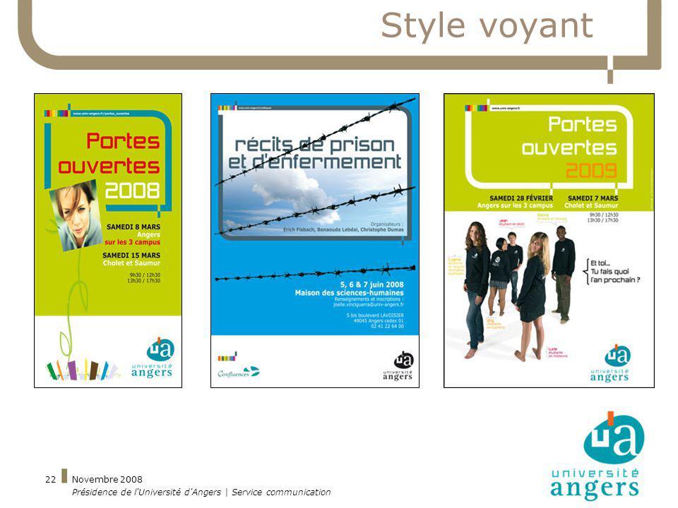 Novembre 2008 Présidence de l'Université d'Angers | Service communication 22 Style voyant