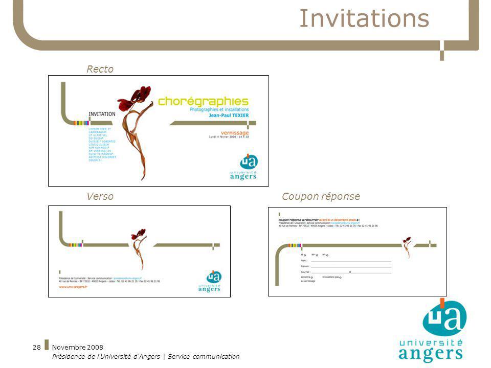 Novembre 2008 Présidence de l'Université d'Angers | Service communication 28 Invitations Recto VersoCoupon réponse