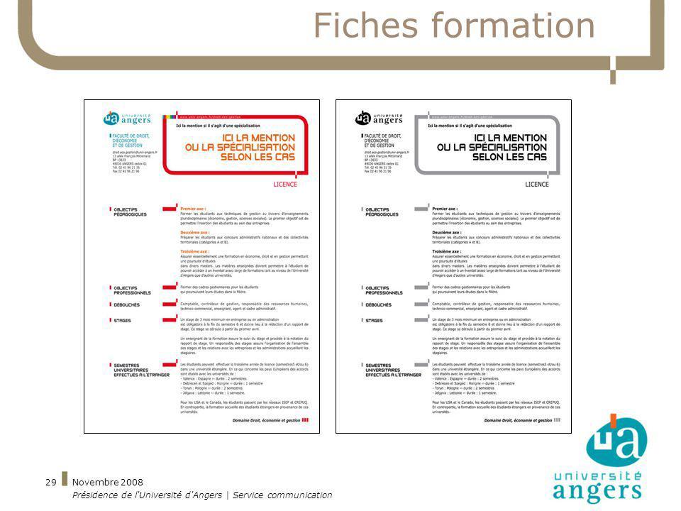 Novembre 2008 Présidence de l'Université d'Angers | Service communication 29 Fiches formation