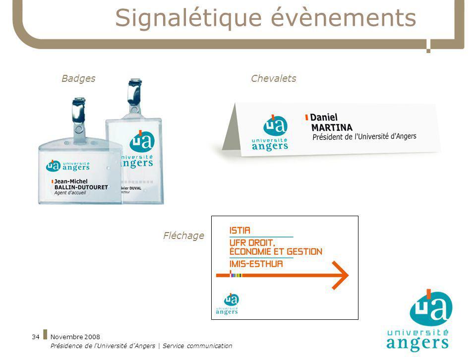 Novembre 2008 Présidence de l'Université d'Angers | Service communication 34 Signalétique évènements BadgesChevalets Fléchage