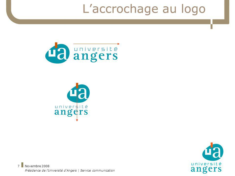Novembre 2008 Présidence de l'Université d'Angers | Service communication 7 Laccrochage au logo
