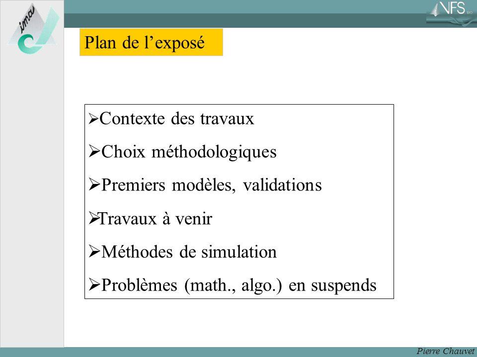 Pierre Chauvet Plan de lexposé Contexte des travaux Choix méthodologiques Premiers modèles, validations Travaux à venir Méthodes de simulation Problèmes (math., algo.) en suspends