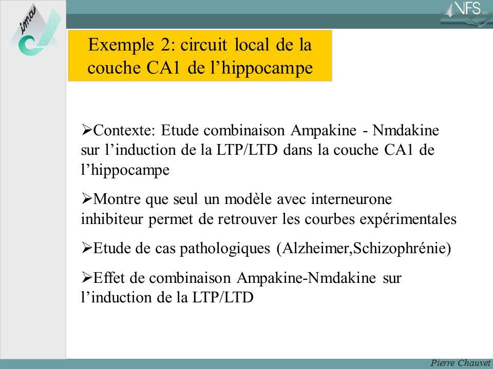 Pierre Chauvet Exemple 2: circuit local de la couche CA1 de lhippocampe Contexte: Etude combinaison Ampakine - Nmdakine sur linduction de la LTP/LTD dans la couche CA1 de lhippocampe Montre que seul un modèle avec interneurone inhibiteur permet de retrouver les courbes expérimentales Etude de cas pathologiques (Alzheimer,Schizophrénie) Effet de combinaison Ampakine-Nmdakine sur linduction de la LTP/LTD