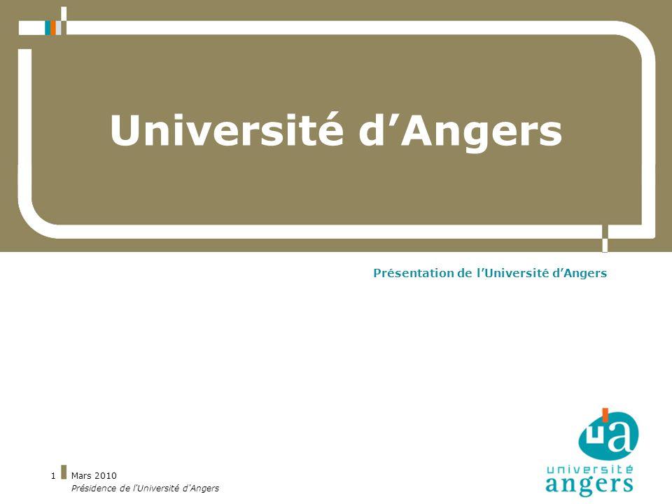 Mars 2010 Présidence de l Université d Angers 22 Espace culturel (2008/2009) 15 662 spectateurs à lespace culturel dont 9342 étudiants 117 spectacles dont 18 projets étudiants 2 DU (diplômes duniversité)