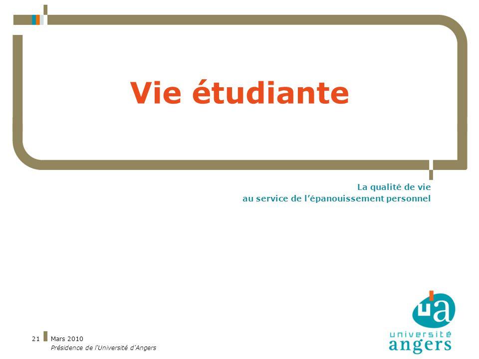 Mars 2010 Présidence de l Université d Angers 21 Vie étudiante La qualité de vie au service de lépanouissement personnel