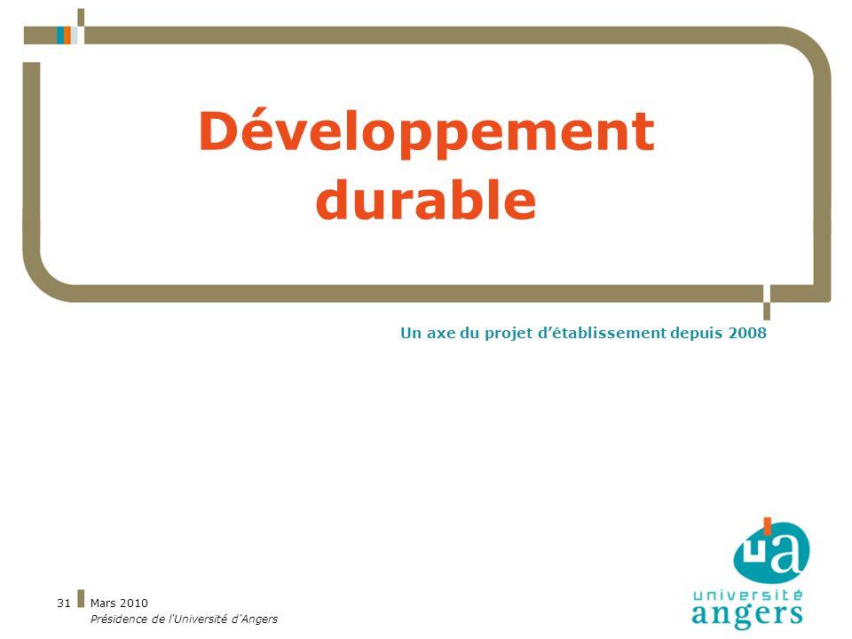 Mars 2010 Présidence de l Université d Angers 31 Développement durable Un axe du projet détablissement depuis 2008
