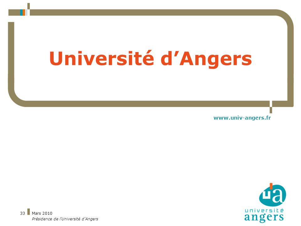 Mars 2010 Présidence de l Université d Angers 33 Université dAngers www.univ-angers.fr