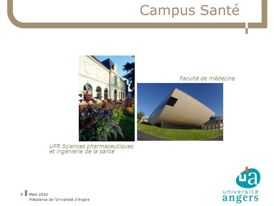 Mars 2010 Présidence de l Université d Angers 9 Campus Santé Faculté de médecine UFR Sciences pharmaceutiques et ingénierie de la santé
