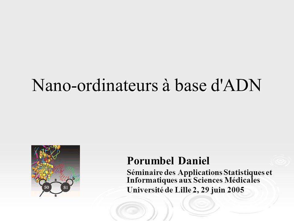 Nano-ordinateurs à base d'ADN Porumbel Daniel Séminaire des Applications Statistiques et Informatiques aux Sciences Médicales Université de Lille 2, 2