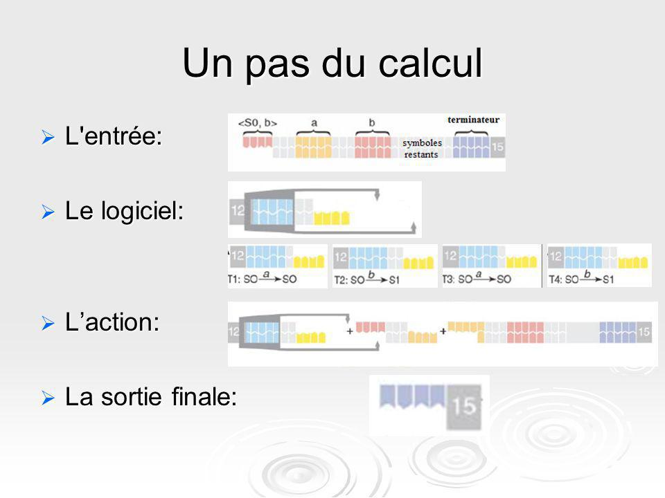 Un pas du calcul L'entrée: L'entrée: Le logiciel: Le logiciel: Laction: Laction: La sortie finale: La sortie finale: