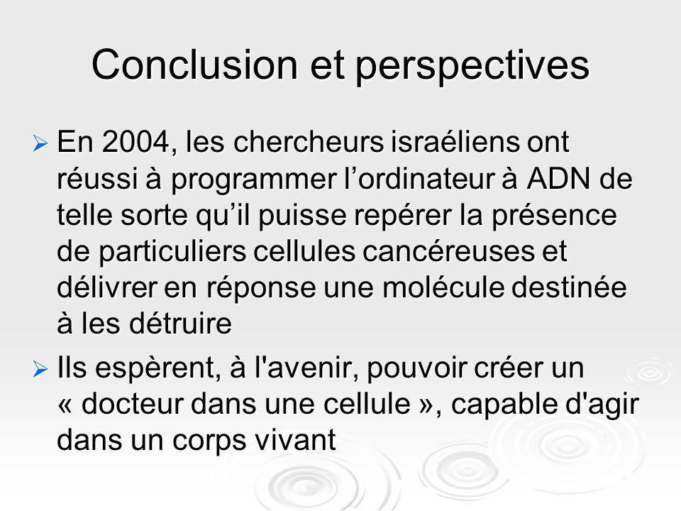 Conclusion et perspectives En 2004, les chercheurs israéliens ont réussi à programmer lordinateur à ADN de telle sorte quil puisse repérer la présence