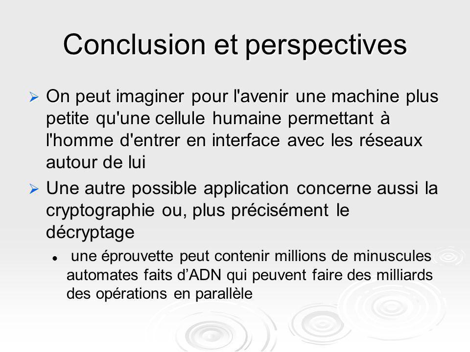 Conclusion et perspectives On peut imaginer pour l'avenir une machine plus petite qu'une cellule humaine permettant à l'homme d'entrer en interface av