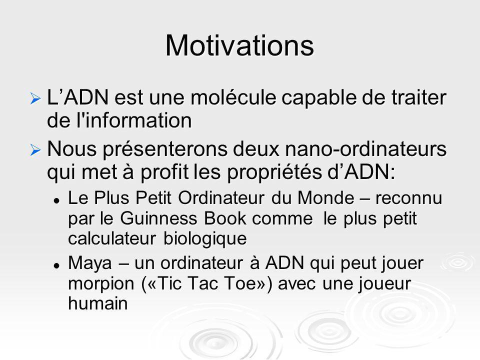 Motivations LADN est une molécule capable de traiter de l'information LADN est une molécule capable de traiter de l'information Nous présenterons deux