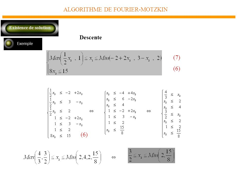 ALGORITHME DE FOURIER-MOTZKIN Exemple Descente Existence de solution (7) (6)
