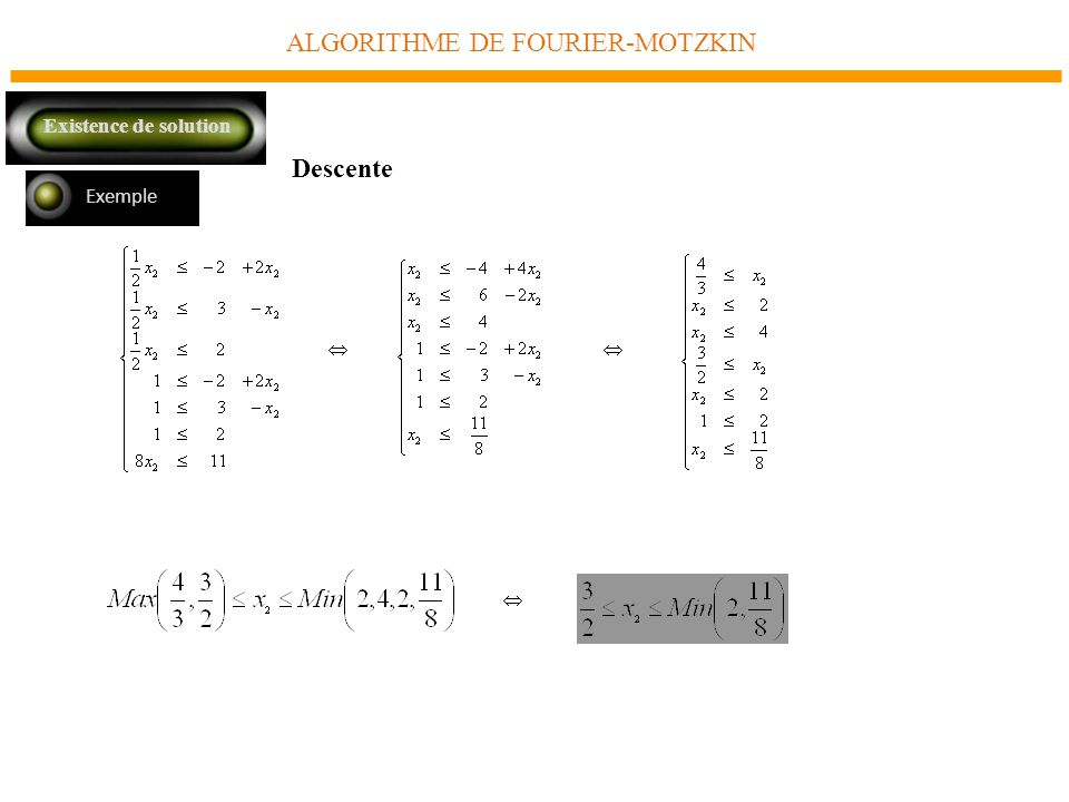 ALGORITHME DE FOURIER-MOTZKIN Exemple Descente Existence de solution
