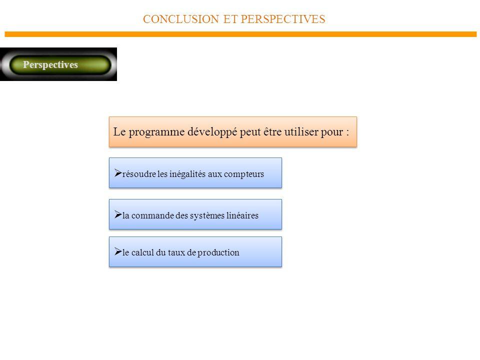 CONCLUSION ET PERSPECTIVES Perspectives Le programme développé peut être utiliser pour : résoudre les inégalités aux compteurs la commande des systèmes linéaires le calcul du taux de production