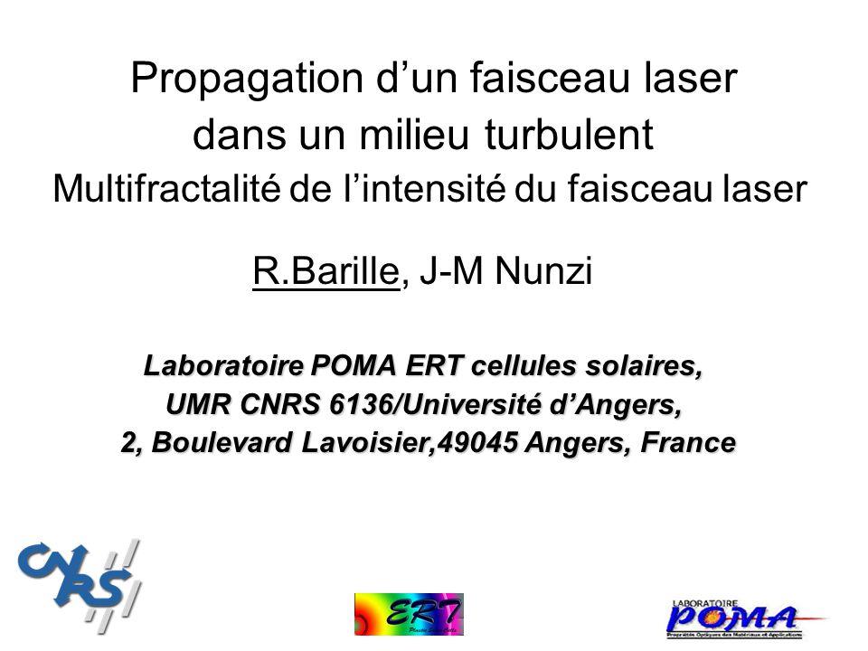 Propagation dun faisceau laser dans un milieu turbulent Multifractalité de lintensité du faisceau laser R.Barille, J-M Nunzi Laboratoire POMA ERT cell