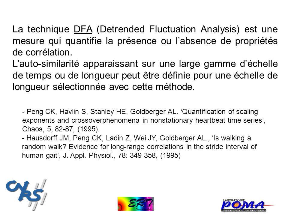 La technique DFA (Detrended Fluctuation Analysis) est une mesure qui quantifie la présence ou labsence de propriétés de corrélation. Lauto-similarité