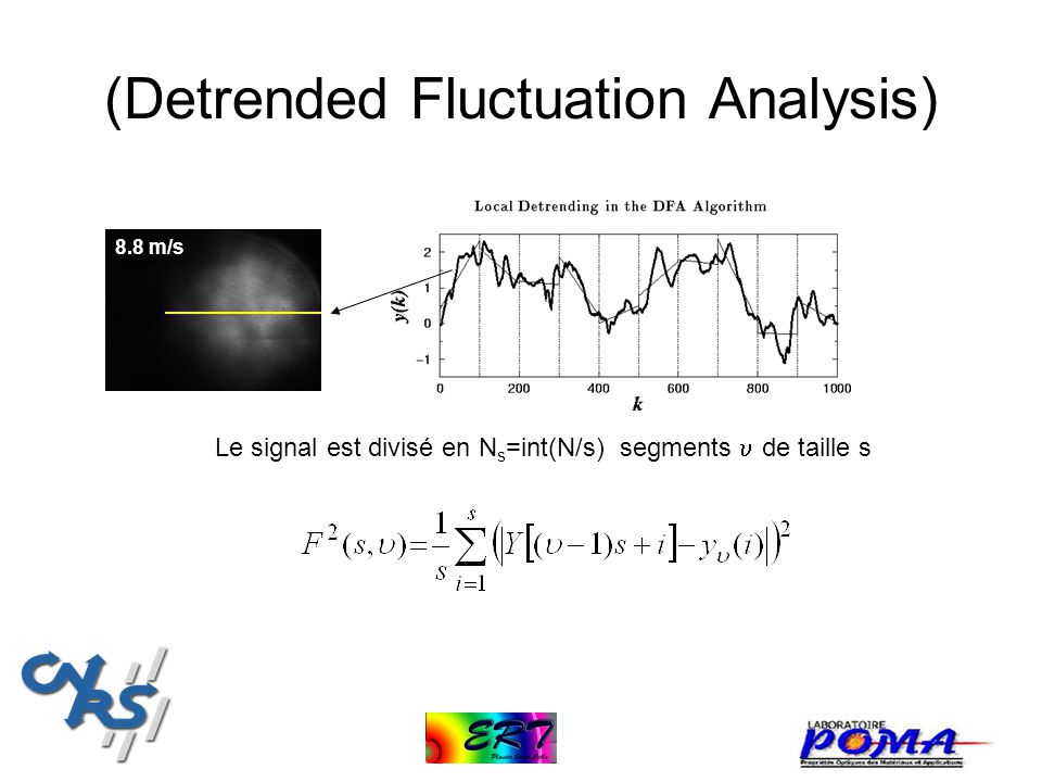(Detrended Fluctuation Analysis) 8.8 m/s Le signal est divisé en N s =int(N/s) segments de taille s