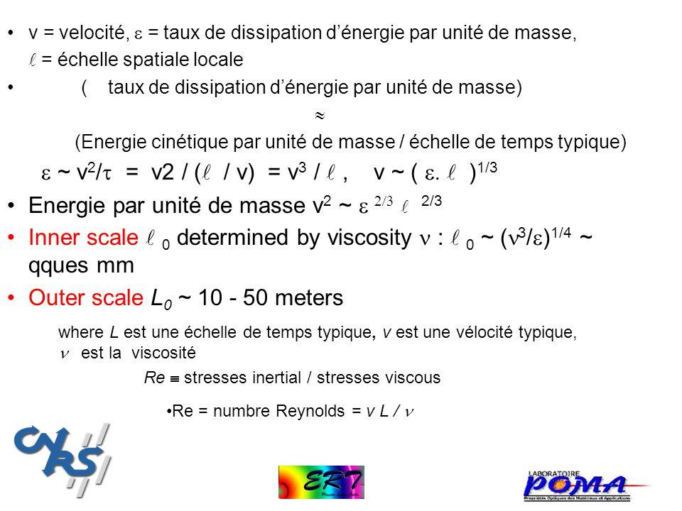 v = velocité, = taux de dissipation dénergie par unité de masse, = échelle spatiale locale ( taux de dissipation dénergie par unité de masse) (Energie