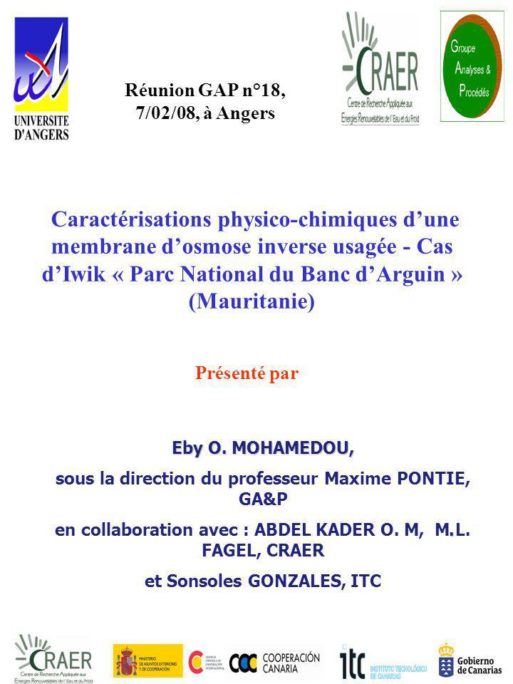 PLAN Introduction Matériel et Méthodes Résultats et Discussion Conclusion et Perspectives