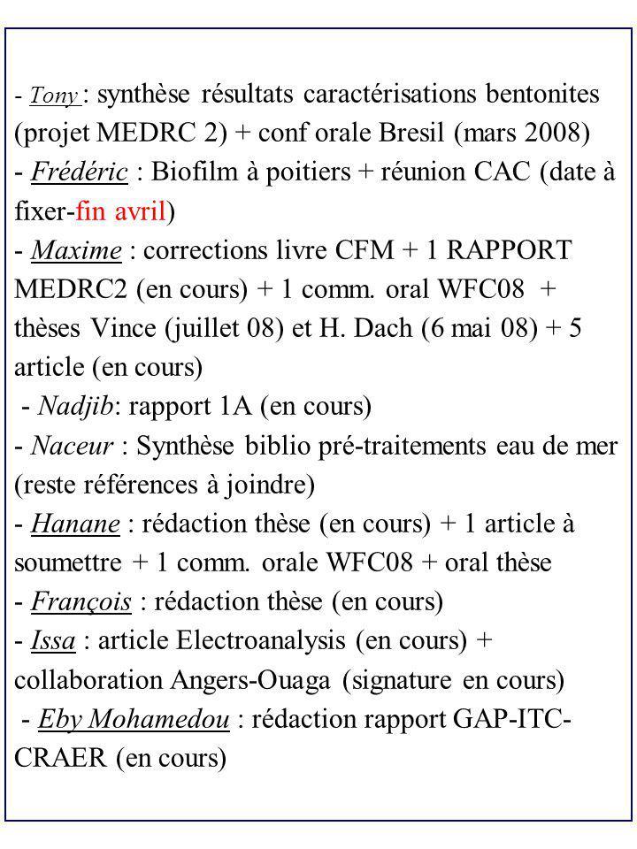 - Tony : synthèse résultats caractérisations bentonites (projet MEDRC 2) + conf orale Bresil (mars 2008) - Frédéric : Biofilm à poitiers + réunion CAC