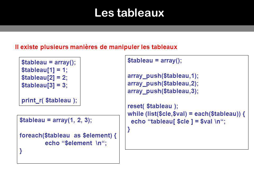 Les tableaux Il existe plusieurs manières de manipuler les tableaux $tableau = array(); $tableau[1] = 1; $tableau[2] = 2; $tableau[3] = 3; print_r( $t