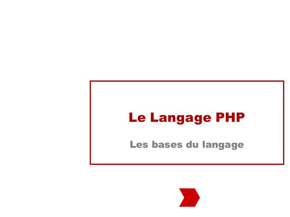 Le Langage PHP Les bases du langage