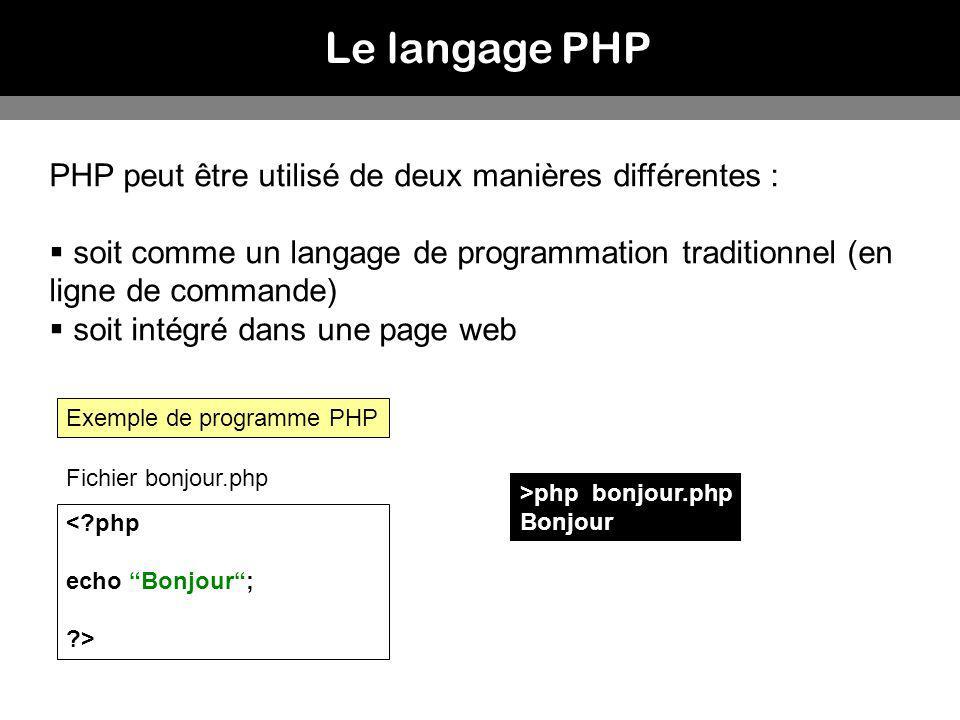PHP peut être utilisé de deux manières différentes : soit comme un langage de programmation traditionnel (en ligne de commande) soit intégré dans une