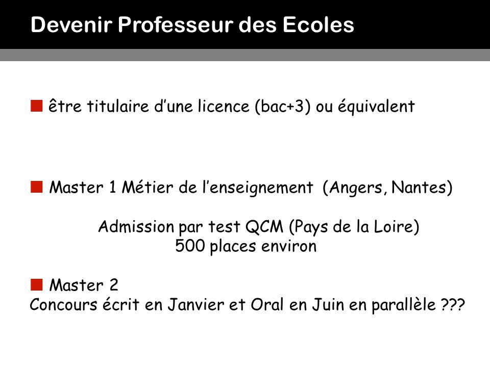 Devenir Professeur des Ecoles être titulaire dune licence (bac+3) ou équivalent Master 1 Métier de lenseignement (Angers, Nantes) Admission par test Q