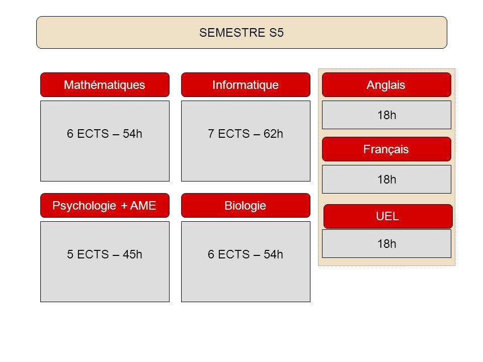 6 ECTS – 54h Mathématiques 7 ECTS – 62h Informatique 6 ECTS – 54h Biologie 18h Français 18h Anglais 5 ECTS – 45h Psychologie + AME SEMESTRE S5 18h UEL