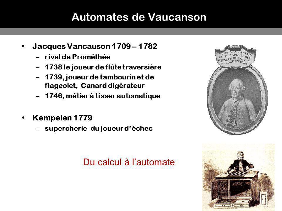 12 Automates de Vaucanson Jacques Vancauson 1709 – 1782 –rival de Prométhée –1738 le joueur de flûte traversière –1739, joueur de tambourin et de flag