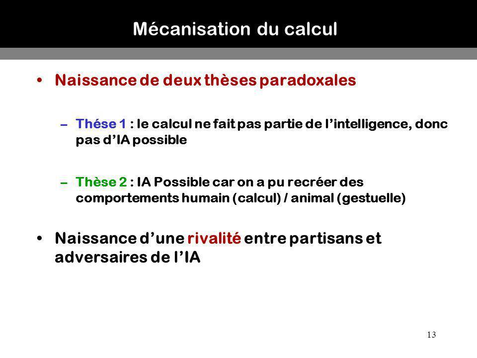 13 Mécanisation du calcul Naissance de deux thèses paradoxales –Thése 1 : le calcul ne fait pas partie de lintelligence, donc pas dIA possible –Thèse