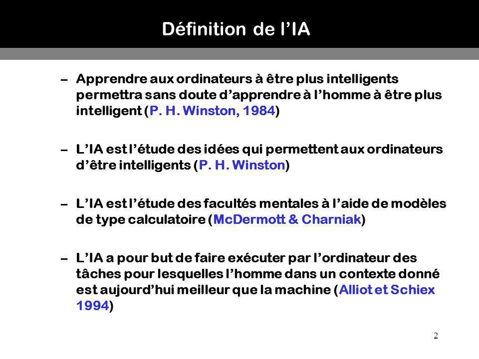 2 Définition de lIA –Apprendre aux ordinateurs à être plus intelligents permettra sans doute dapprendre à lhomme à être plus intelligent (P. H. Winsto