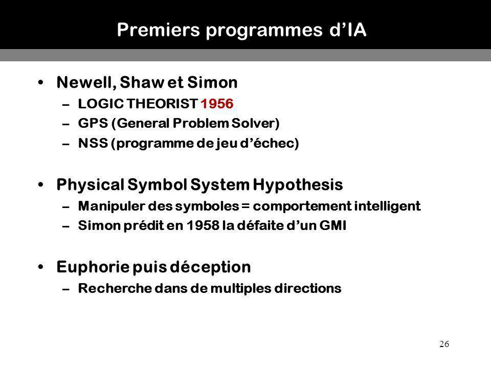 26 Premiers programmes dIA Newell, Shaw et Simon –LOGIC THEORIST 1956 –GPS (General Problem Solver) –NSS (programme de jeu déchec) Physical Symbol Sys