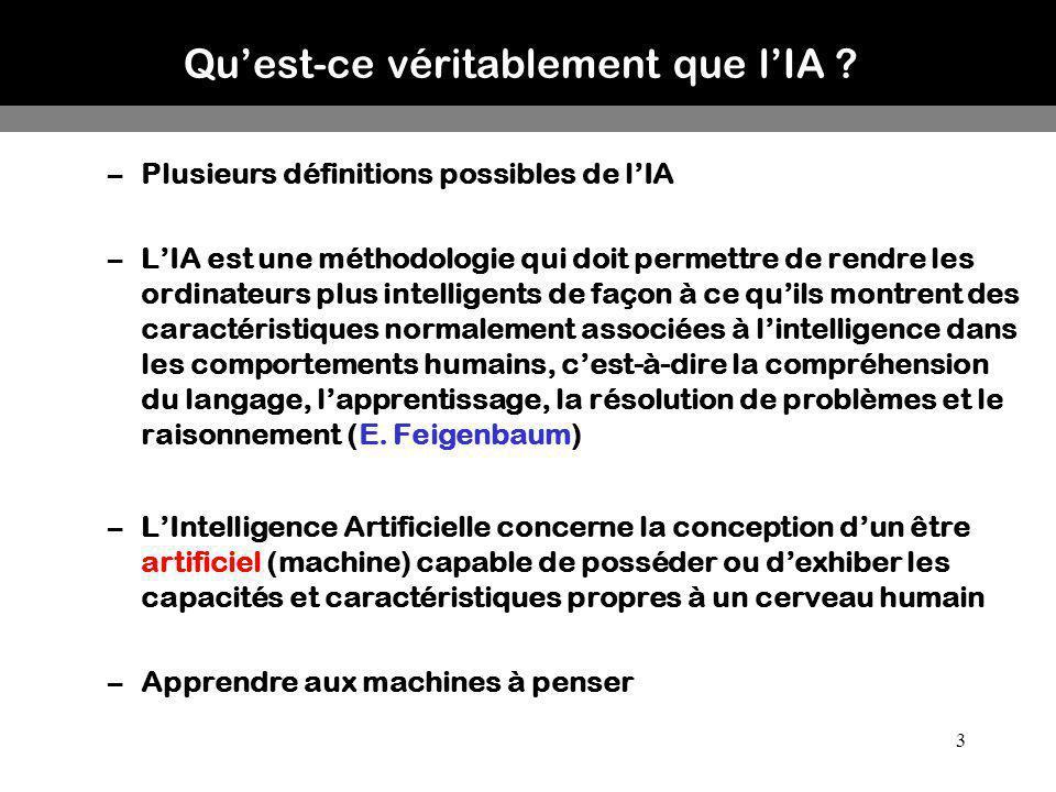 3 –Plusieurs définitions possibles de lIA –LIA est une méthodologie qui doit permettre de rendre les ordinateurs plus intelligents de façon à ce quils