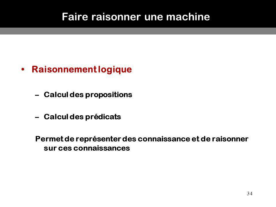 34 Faire raisonner une machine Raisonnement logique –Calcul des propositions –Calcul des prédicats Permet de représenter des connaissance et de raison