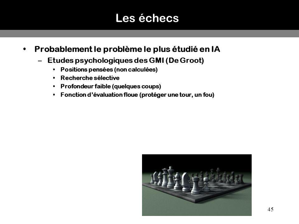 45 Les échecs Probablement le problème le plus étudié en IA –Etudes psychologiques des GMI (De Groot) Positions pensées (non calculées) Recherche séle