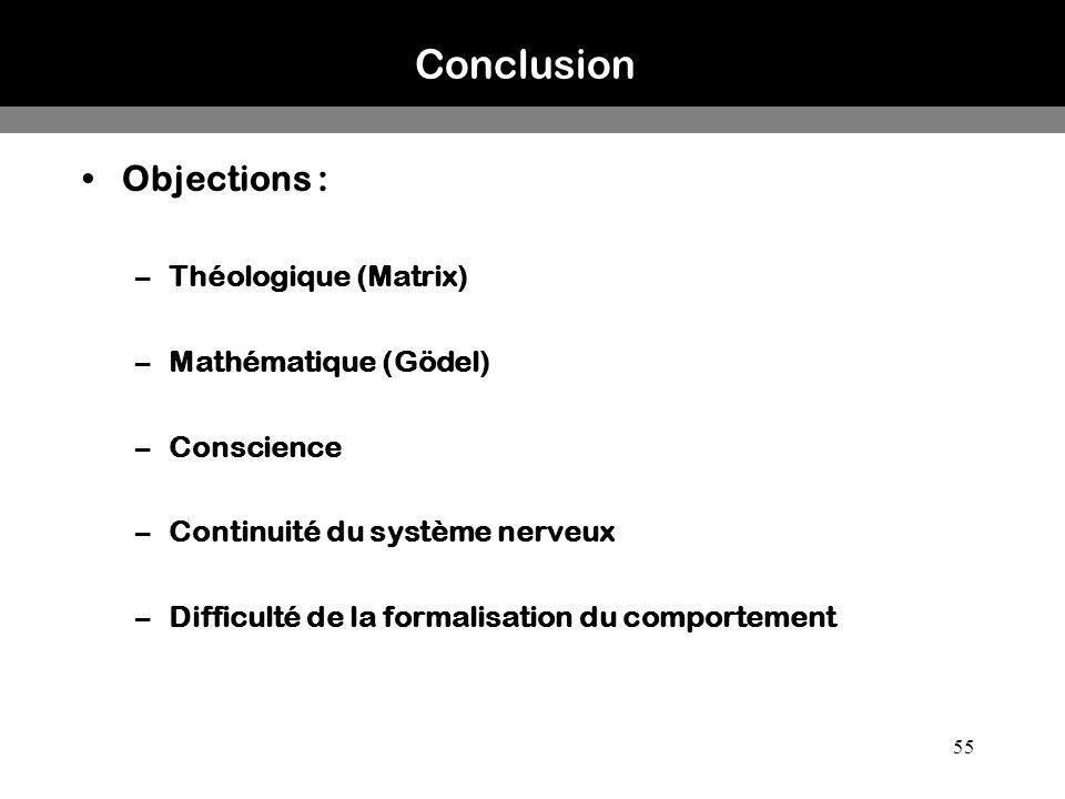 55 Conclusion Objections : –Théologique (Matrix) –Mathématique (Gödel) –Conscience –Continuité du système nerveux –Difficulté de la formalisation du c