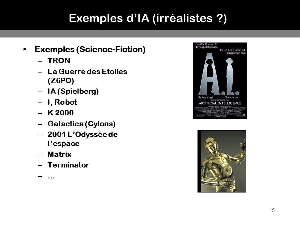 6 Exemples dIA (irréalistes ?) Exemples (Science-Fiction) –TRON –La Guerre des Etoiles (Z6PO) –IA (Spielberg) –I, Robot –K 2000 –Galactica (Cylons) –2