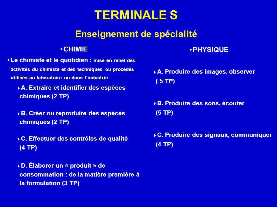 TERMINALE S Enseignement de spécialité CHIMIE Le chimiste et le quotidien : mise en relief des activités du chimiste et des techniques ou procédés uti
