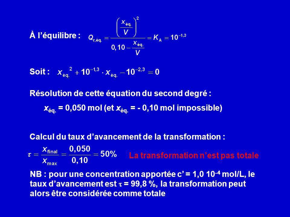 À léquilibre : Soit : Résolution de cette équation du second degré : x éq. = 0,050 mol (et x éq. = - 0,10 mol impossible) Calcul du taux davancement d