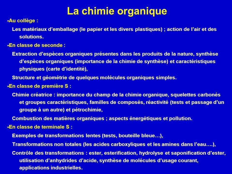 La chimie organique Au collège : Les matériaux demballage (le papier et les divers plastiques) ; action de lair et des solutions. En classe de seconde