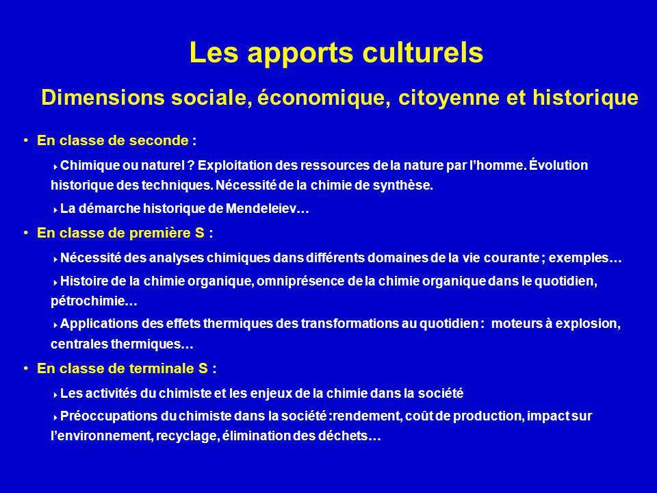Les apports culturels Dimensions sociale, économique, citoyenne et historique En classe de seconde : Chimique ou naturel ? Exploitation des ressources