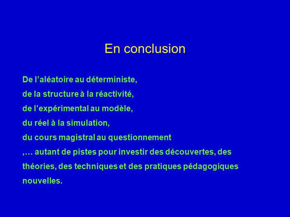 En conclusion De laléatoire au déterministe, de la structure à la réactivité, de lexpérimental au modèle, du réel à la simulation, du cours magistral