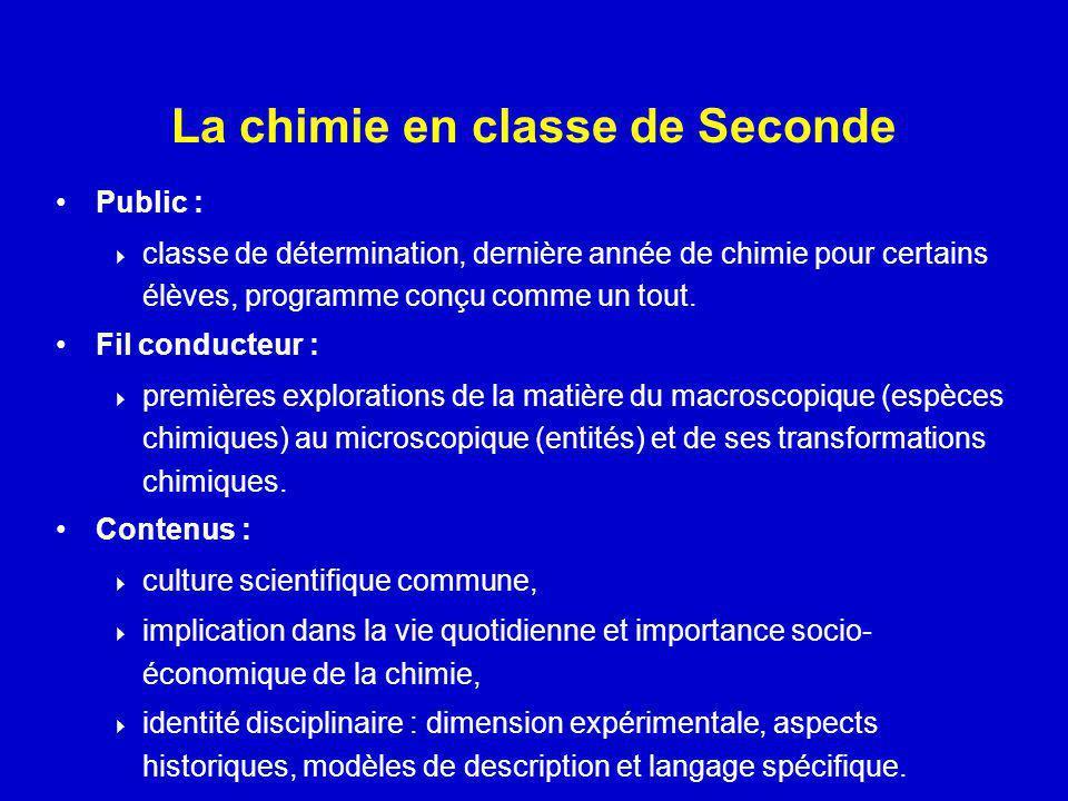 La chimie en classe de Seconde Public : classe de détermination, dernière année de chimie pour certains élèves, programme conçu comme un tout. Fil con