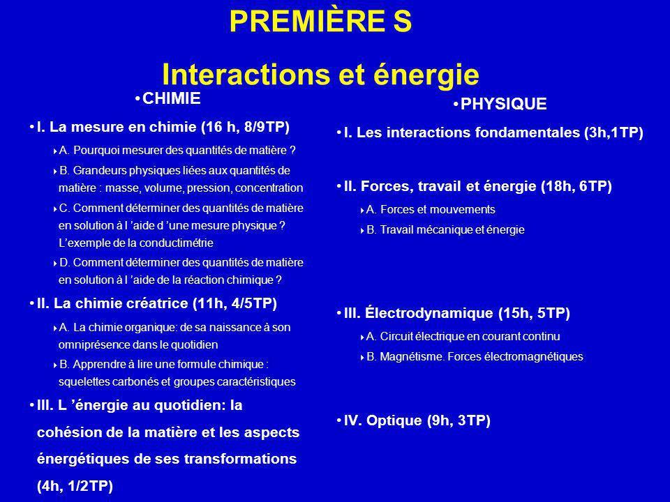 PREMIÈRE S Interactions et énergie CHIMIE I. La mesure en chimie (16 h, 8/9TP) A. Pourquoi mesurer des quantités de matière ? B. Grandeurs physiques l