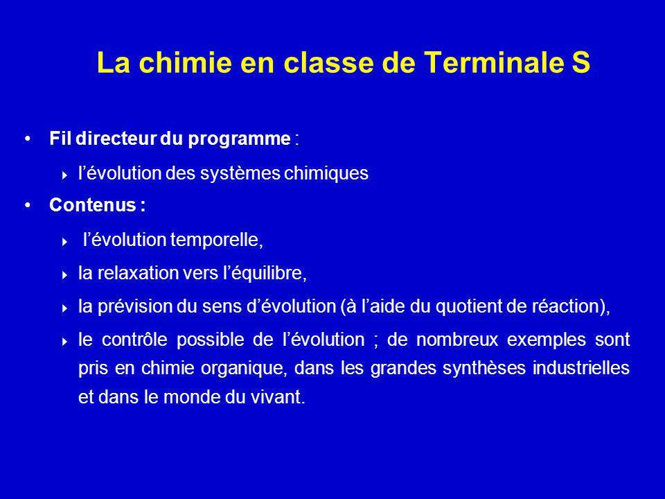 La chimie en classe de Terminale S Fil directeur du programme : lévolution des systèmes chimiques Contenus : lévolution temporelle, la relaxation vers